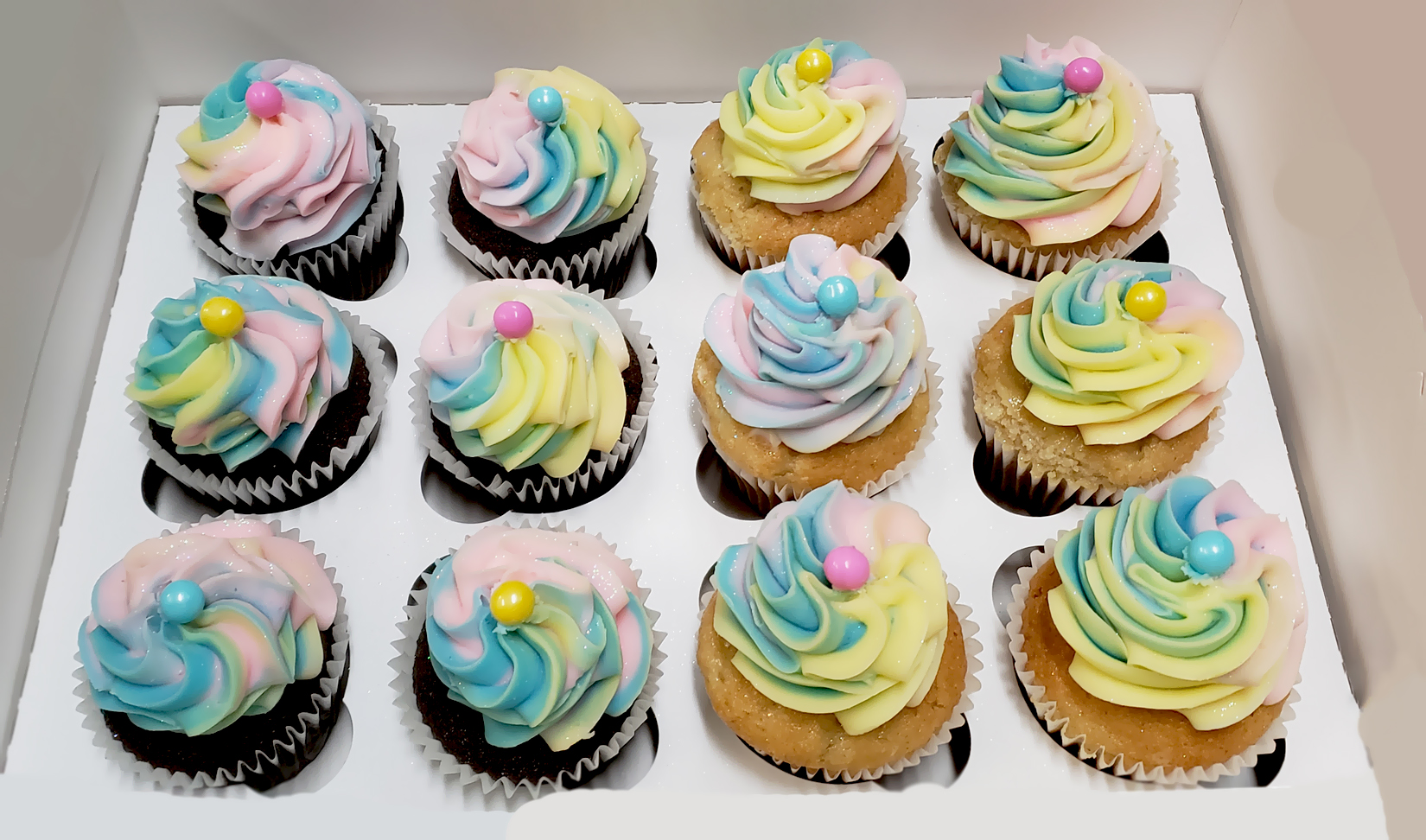 Pastel Rainbow Swirl Dozen Cupcakes