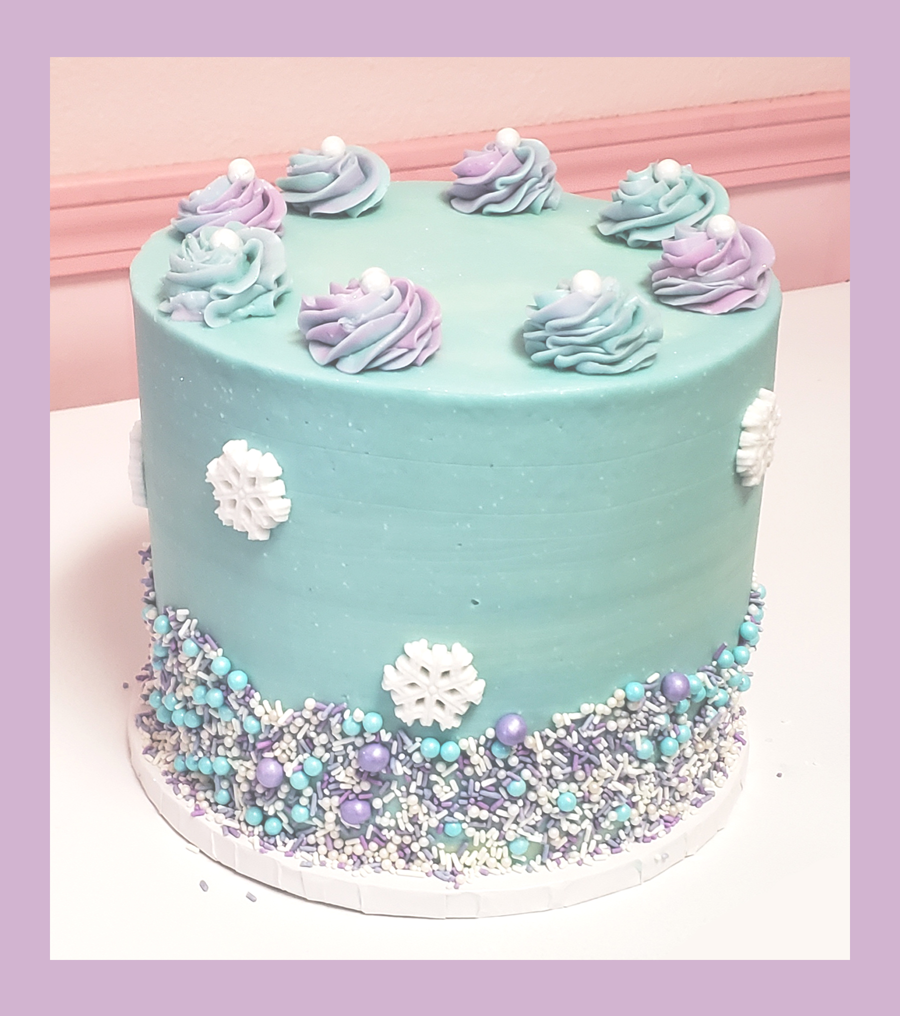 Frozen Theme Watercolor Cake
